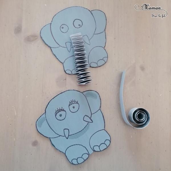 Activité créative et manuelle enfants - Fabriquer une famille Eléphant en carton - Herbes hautes de la savane - Jeu DIY - Créer la trompe de l'éléphant - Récup en carton et peinture - Bricolage 3D en relief - Fait maison - Afrique et Kenya - Découverte d'un pays - Animaux de la savane - Espace et géographie - arts visuels et atelier maternelle et Cycles 1 et 2 - Eté - mslf