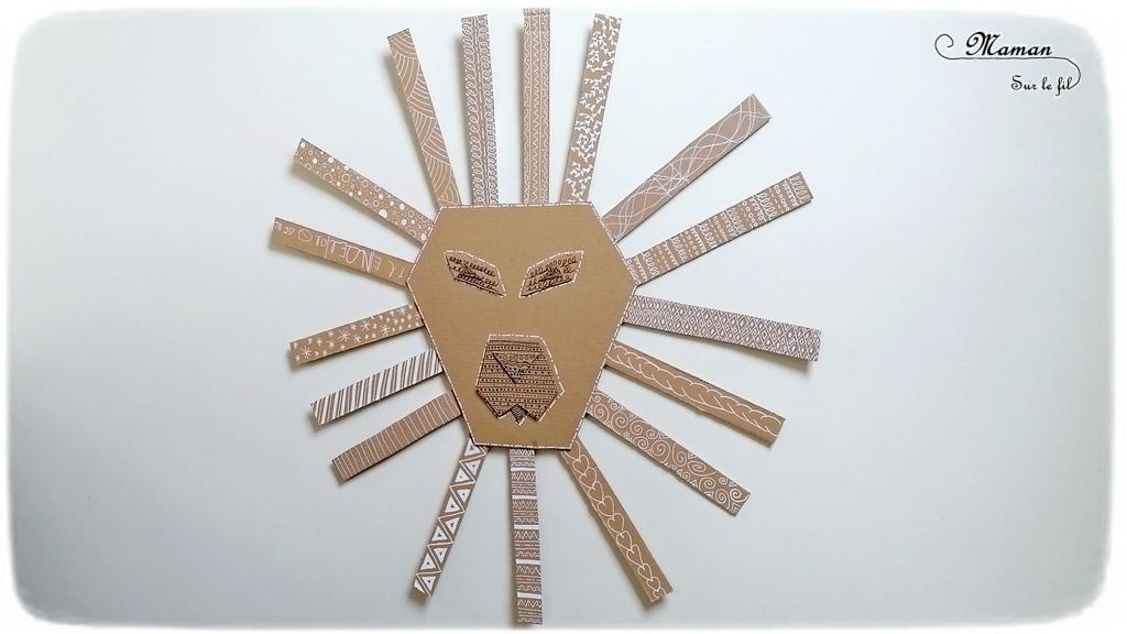 Fabriquer un lion graphique géant en carton - Récup et graphisme - Relief et 3D - Collage - Tête et crinière - Recyclage - Surcyclage - Décoration - Dessin et graphisme - Afrique et Kenya - Animaux de la savane - Découverte d'un pays autour du monde - activité créative et manuelle enfants - Bricolage Eté - Tutoriel - Arts visuels, projet collaboratif maternelle et élémentaire - Cycles 1 et 2 - mslf
