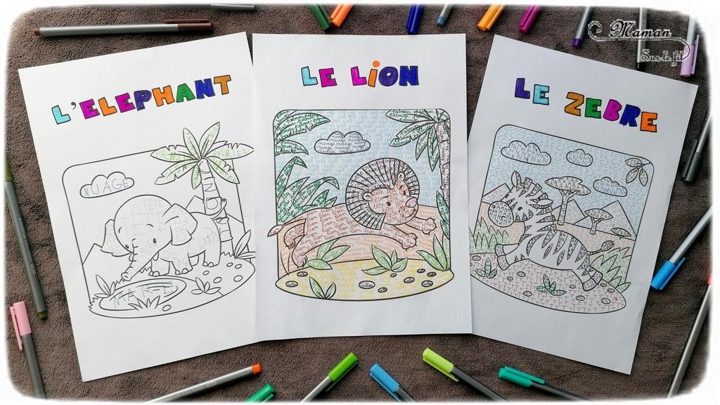 Activité créative et manuelle enfants - Colorier les animaux de la savane en écrivant - Coloriage éléphant, lion, zèbre - Plusieurs niveaux progressifs - Lettres, majuscules, cursive - Travail de l'écriture, du vocabulaire, de l'orthographe - Feutres - Créativité - Afrique et Kenya - Découverte d'un pays - Animaux de la savane - Espace et géographie - arts visuels et atelier maternelle et Cycle 1 et 2 - Eté - mslf