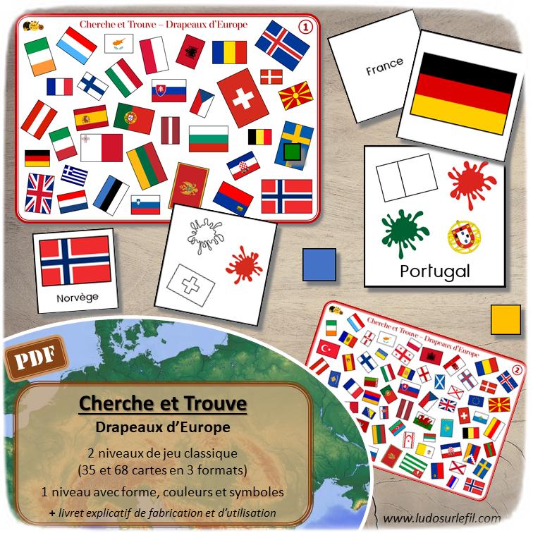 Cherche et Trouve - Drapeaux d'Europe - 3 niveaux progressifs (dont un avec des codes formes et couleurs) - Différents formats de cartes (Drapeaux seuls, avec noms...) - Géographie - Jeu PDF à télécharger et à imprimer ou imprimé - lslf