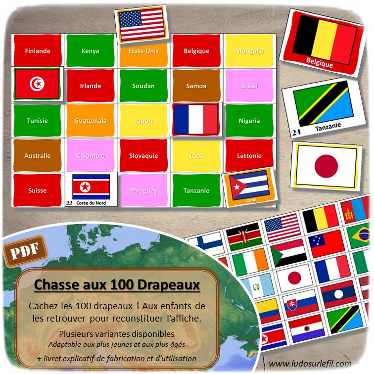 Chasse aux 100 drapeaux - Chasse géante - Discrimination visuelle, patience - Thème Géographie - Plusieurs versions pour travailler différentes compétences - Jeu à télécharger et à imprimer - Format PDF - lslf