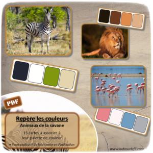 Jeu à imprimer - Repère les couleurs - Animaux de la savane - Associe la photo à sa palette de couleurs - atelier autonome et autocorrection - Boutique en ligne de jeux à télécharger et à imprimer - Fichier PDF - Ludo sur le fil