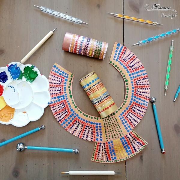 Fabriquer des bijoux Massaï en carton et récup' - Découverte Afrique, Kenya et tribu Massaï - Collier et bracelets en peinture en pointillisme - Technique Dots - Activité créative et manuelle enfants - DIY Fait Maison - Arts Visuels Maternelle et Cycle 2 - Récup, carton, rouleaux de papier toilettes et assiette en carto - Recyclage - Surcyclage - Découverte d'un pays autour du monde - Bricolage Eté - Tutoriel - mslf
