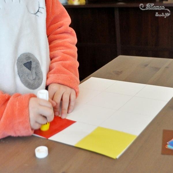 Activité créative et manuelle enfants - Collage à la façon de Vassili Kandinsky - Découpage, collage, géométrie - Formes géométriques, tri par taille - A la manière de - Peinture et artiste - Travail sur les couleurs - Découverte d'un artiste Mesure et Utilisation de la règle - Arts visuels maternelle ou cycle 2 - mslf