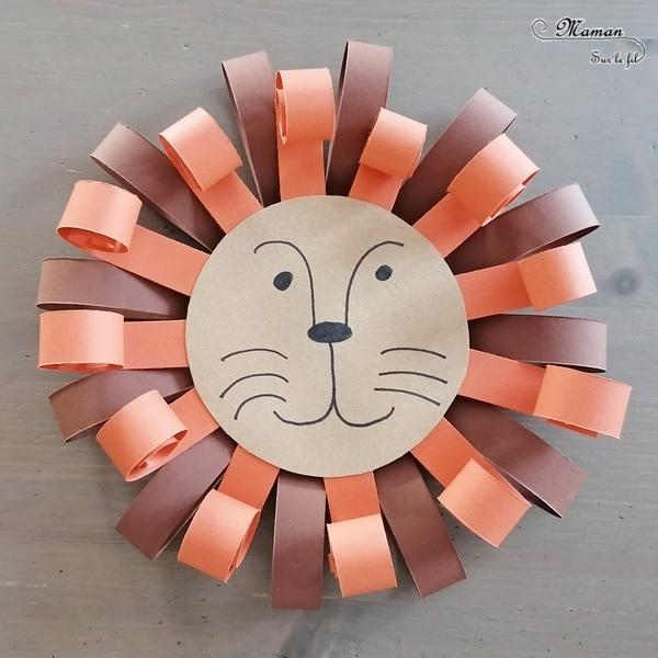 Fabriquer un lion en carton et bandes de papier - Récup, découpage, collage - 2 façons : bandes pliées et enroulées - Motricité fine - Relief et 3D - Bricolage Tête et crinière - Recyclage - Surcyclage - Décoration - Dessin et graphisme - Afrique et Kenya - Animaux de la savane - Découverte d'un pays autour du monde - activité créative et manuelle enfants - Bricolage Eté - Tutoriel - Arts visuels maternelle et élémentaire - Cycles 1 et 2 - mslf