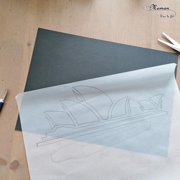 Activité créative et manuelle enfants - Opéra de Sydney en mosaïque de papiers collés - Monument australien - Découpage et collage de récup' de chutes de papier - Jeu de contraste entre noir et couleurs - Créativité - Océanie et Australie - Découverte d'un pays - Espace et géographie - arts visuels et atelier maternelle , Cycle 1, 2 et 3 - Eté - modèle à télécharger et imprimer - gratuit - mslf