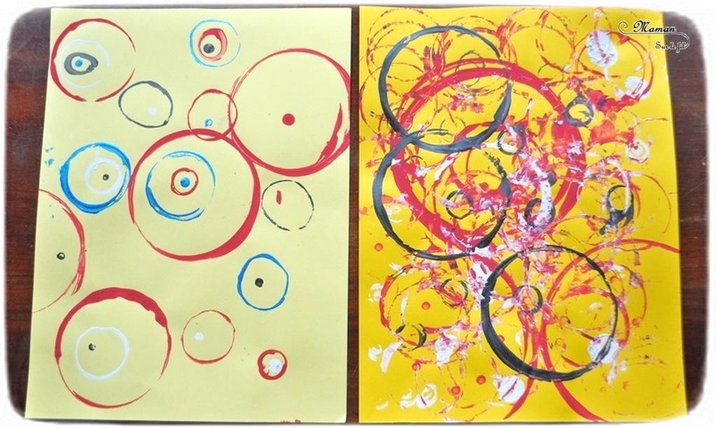 Activité créative et manuelle enfants - Peinture de quelques cercles et ronds à la façon de Vassili Kandinsky - Objets du quotidien comme tampon - géométrie - Formes géométriques, tri par taille - cercles concentriques - A la manière de - Peinture et artiste - Travail sur les couleurs - Découverte d'un artiste Mesure - Pointillisme - Arts visuels maternelle ou cycle 2 - mslf