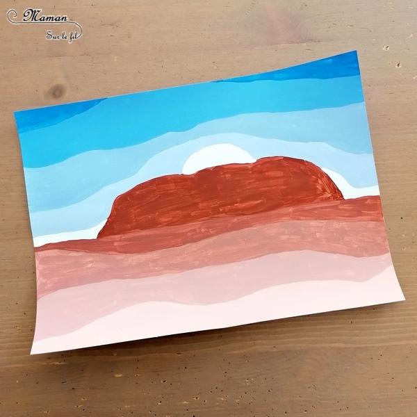 Activité créative et manuelle enfants - Ayer Rocks du site Uluru en dégradé de peinture - technique avec ajout de blanc - Rocher sacré de la culture aborigène - Coucher soleil - Peinture - - Découverte d'une technique artistique - Créativité - Océanie et Australie - Découverte d'un pays - Espace et géographie - arts visuels et atelier maternelle, Cycle 1, 2 et 3 - Eté - mslf