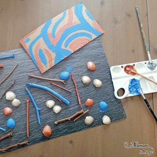 Activité créative et manuelle enfants - Land Art et Nature - Sculpture 3D avec des éléments de la nature peints - Bâtons de bois, Pommes de pins, coquillages - récup et carton - Peinture et collage libre - Entre été et automne - Créativité - arts visuels en relief et atelier maternelle, Cycle 1, 2 et 3 - Bricolage, décoration DIY - Fait Maison - mslf