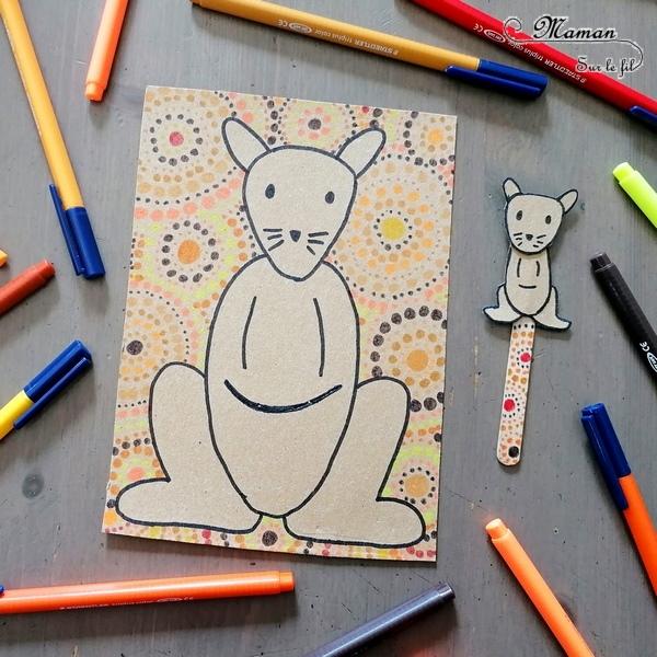 Activité créative et manuelle enfants - Carte à manipuler DIY Kangourou maman et son bébé - Récup', Carton, bâtonnet de glace - Poche - Découverte de l'australie, l'océanie, l'art aborigène - Graphisme et couleurs chaudes - Bébé et Poche en carton de récup' - colis - Invitation à jouer fait maison sur l'Australie - Dessin - Animaux australiens, de la steppe et de la savane - Créativité - Découverte d'un pays - Espace et géographie - arts visuels et atelier maternelle , Cycle 1, 2 et 3 - Eté - mslf