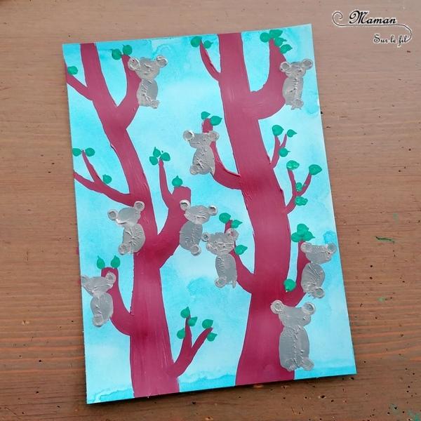 Activité créative et manuelle enfants - Tableau de koalas peints en empreintes de doigts - Peinture, pointillisme, stylo, coton-tige - Eucalyptus - Cadre en forme de valise avec graphisme type aborigène pour décorer - Animaux de la forêt australienne - - Créativité - Océanie et Australie - Découverte d'un pays - Espace et géographie - arts visuels et atelier maternelle, Cycle 1, 2 et 3 - Eté - mslf