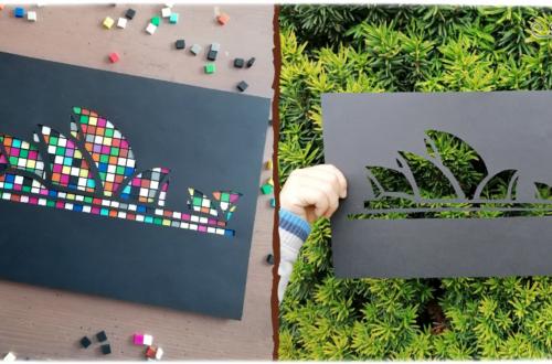 Activité créative et manuelle enfants - Décorer l'opéra de Sydney à volonté - façon spectacle de lumière - Land art, Nature, Motifs, Mosaïque, Pixel art, papier - Monument australien - Imagination - Jeu de contraste entre noir et couleurs - Créativité - Océanie et Australie - Découverte d'un pays - Espace et géographie - arts visuels et atelier maternelle , Cycle 1, 2 et 3 - Eté - modèle à télécharger et imprimer - gratuit - mslf