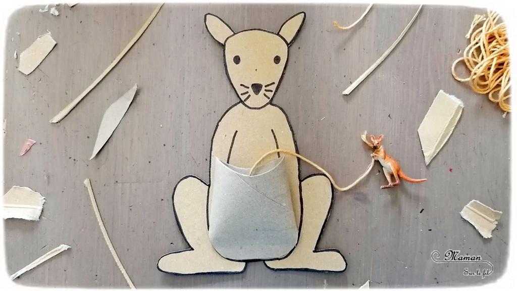 Activité créative et manuelle enfants - Bilboquet DIY Kangourou - Bébé et Poche en carton de récup' - colis et rouleau de papier toilette ou PQ - Jeu fait maison sur l'Australie - Dessin - Animaux australiens, de la steppe et de la savane - Créativité - Océanie et Australie - Découverte d'un pays - Espace et géographie - arts visuels et atelier maternelle , Cycle 1, 2 et 3 - Eté - mslf