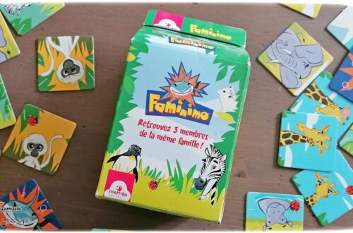 Jeu de société enfants et adultes - Faminimo des éditions Mattika - Jeu de memory et de mémoire rigolo - Variante familiale - famille de 3 animaux - piège avec le requin - 4 ans et plus - partie facile et rapide - Jeu de cartes - Parfait à emporter - Jeu de voyage - Test et avis - mslf