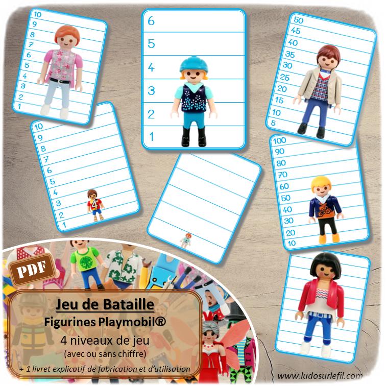 Jeu de bataille par taille sur les figurines Playmobil - 4 niveaux progressifs (de 1 à 6, de 1 à 10, de 5 à 50 de 5 en 5, de 10 à 100 de 10 en 10) avec ou sans chiffre - mathématique, reconnaissance des chiffres, ordre de grandeur, notion de mesures et longueurs - Atelier maternelle ou cycle 2 - Jeu à télécharger et à imprimer ou jeu imprimé - Format PDF - lslf