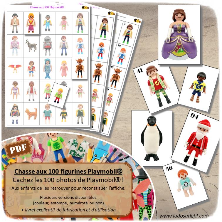 Chasse aux 100 figurines Playmobil - Chasse géante - Discrimination visuelle, patience - Jeu à télécharger et à imprimer  - Format PDF - lslf