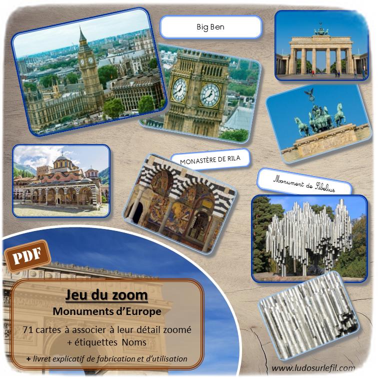Jeu du zoom - Monuments Europe - Géographie et pays d'Europe - jeu à imprimer ou imprimé - atelier autocorrectif maternelle ou cycle 2 - vocabulaire et lexique - découverte géographie - lslf