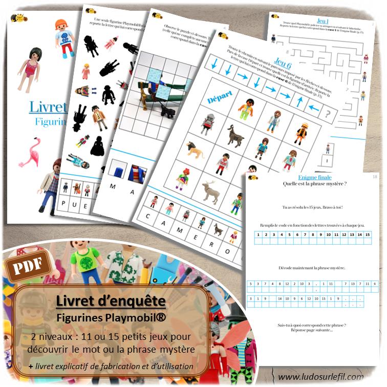 Livret enquête Playmobil - cahier activités - Plusieurs mini-jeux - multi-jeux - 11 ou 15 jeux pour trouver énigme - phrase ou mot mystère codé - 2 niveaux - Maternelle, cycle 1, 2 ou 3 - Jeu à télécharger et à imprimer  ou jeu imprimé - Format PDF - lslf