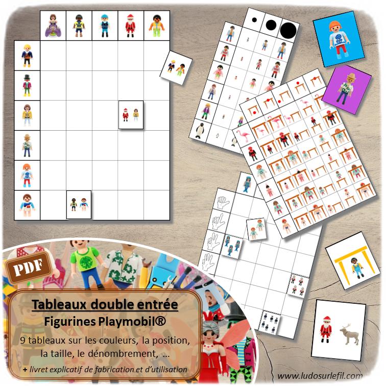 9 Tableaux double entrée sur le thème Playmobil - différentes compétences : association, discrimination visuelle, dénombrement, couleurs, vocabulaire spatial, position, taille... - Atelier maternelle et cycle 2 - autocorrectif- Jeu à télécharger et à imprimer - Format PDF - lslf