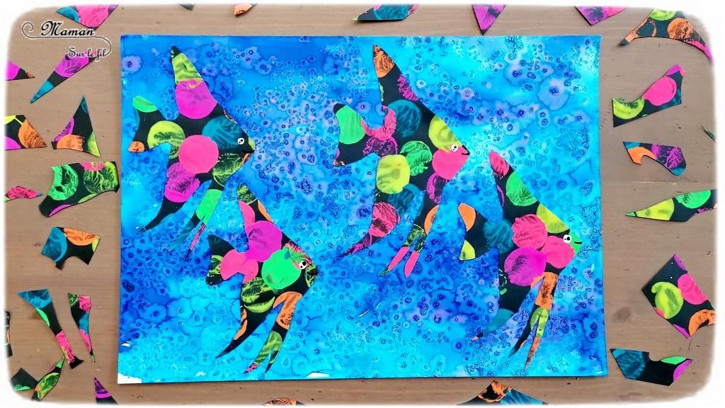 Activité créative et manuelle enfants - Fond de mer en encre et gros sel - Poissons tropicaux ou exotiques fluos en peinture au bouchon - Découpage collage - Océan et barrière de corail - Peinture - Créativité - Océanie et Australie - Découverte d'un pays - Espace et géographie - arts visuels et atelier maternelle, Cycle 1, 2 et 3 - Eté - mslf