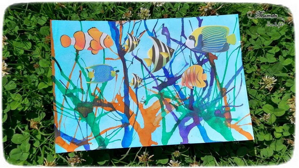 Activité créative et manuelle enfants - Fond de mer à l'encre - Coraux à l'encre soufflée à la paille - Poissons tropicaux et exotiques découpés et collés - Découpage collage - Océan et grande barrière de corail - Peinture - Créativité - Océanie et Australie - Découverte d'un pays - Espace et géographie - arts visuels et atelier maternelle, Cycle 1, 2 et 3 - Eté - mslf