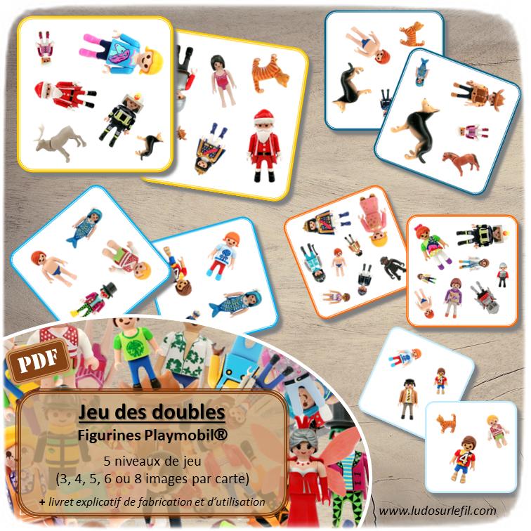 Jeu des doubles - Type Dobble - Figurines Playmobil - Bonhommes et animaux - jeu à imprimer ou imprimé - atelier maternelle ou cycle 2 - 5 niveaux de jeu - difficulté progressive - entre 3 et 8 images par carte - vocabulaire et lexique - discrimination visuelle - lslf