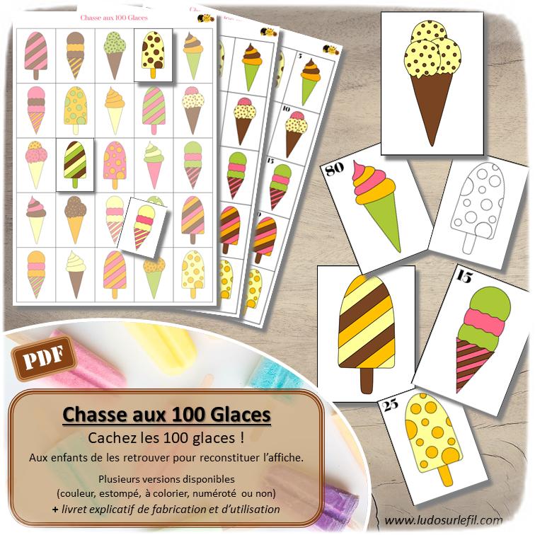 Chasse aux 100 glaces - Couleurs - jeu à imprimer - Jeu de recherche et de patience - discrimination visuelle - thème été - lslf