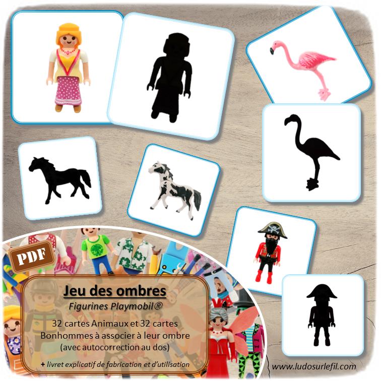 Jeu des ombres - Figurines Playmobil - Bonhommes et animaux - jeu à imprimer ou imprimé - atelier autocorrectif maternelle ou cycle 2 - vocabulaire et lexique - discrimination visuelle - lslf