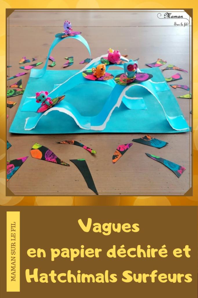 Activité créative et manuelle enfants - Mer, océan et vagues en 3D en papier déchiré et peint à l'encre - Surfs noirs en peinture fluo au bouchon - vagues et surfeurs Hatchimals - Découpage collage - Océan et barrière de corail - Peinture - Créativité - Océanie et Australie - Découverte d'un pays - Espace et géographie - arts visuels et atelier maternelle, Cycle 1, 2 et 3 - Eté - mslf