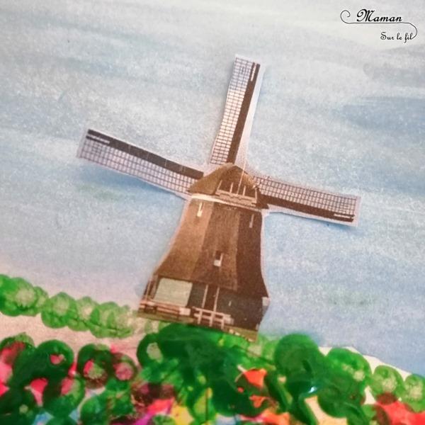 Activité créative et manuelle enfants - Champ de tulipes hollandais peint au coton-tige - Pointillisme, peinture et moulin - Champ de fleurs - Parfait pour le printemps - technique rigolote - Bricolage - Créativité - Europe - Pays-Bas, Hollande, Néerlandais - Découverte d'un pays - Espace et géographie - arts visuels et atelier Cycle 1 ou 2 - Maternelle - mslf