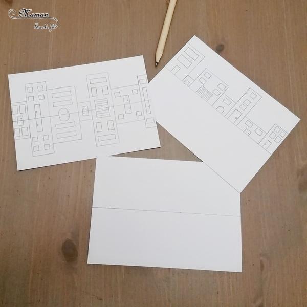 Activité créative et manuelle enfants - Reflet de maisons hollandaises en bord de canal en symétrie - Reflet dans l'eau - Coloriage - Jeu entre feutres et crayons de couleur - Travail de la symétrie et de géométrie - Créativité - Europe - Pays-Bas, Hollande, Néerlandais - Amsterdam - Découverte d'un pays - Espace et géographie - arts visuels et atelier Cycle 1, 2 ou 3 - Maternelle et élémentaire - Modèle PDF gratuit à imprimer et télécharger - mslf
