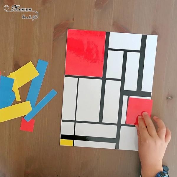 Activité créative et manuelle enfants - Puzzle DIY à la façon de Piet Mondrian - Jeu Fait Maison à imprimer - Colorer le tableau de Piet Mondrian - A la manière de - Géométrie - Travail sur les couleurs primaires et les formes (rectangles) - Découverte d'un artiste - Logique et observation - Arts visuels maternelle ou cycle 2 et 3 - mslf