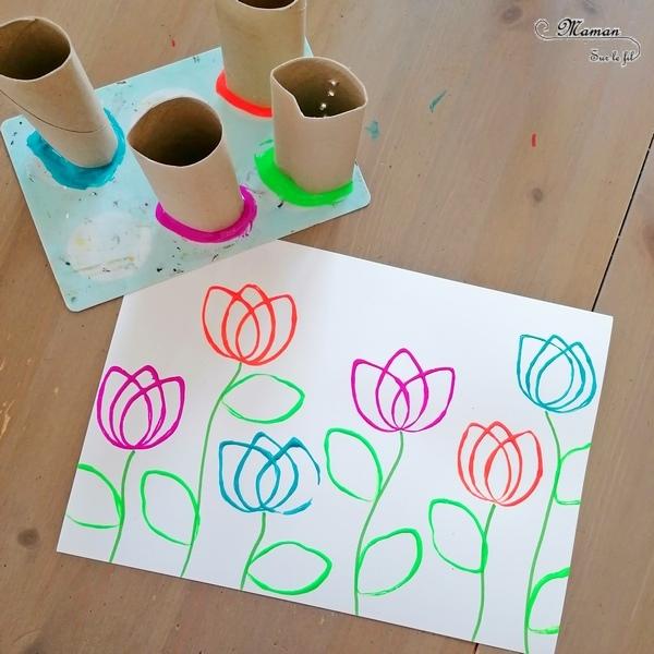 Activité créative et manuelle enfants - Peindre et dessiner des tulipes avec des rouleaux de papier toilette et des crayons de couleur - PQ - Récup, recyclage, peinture et dessin - Champ de tulipes, de fleurs - Parfait pour le printemps - technique rigolote - Paysage - Créativité - Europe - Pays-Bas, Hollande, Néerlandais - Découverte d'un pays - Espace et géographie - arts visuels et atelier Cycle 1 ou 2 - Maternelle - mslf