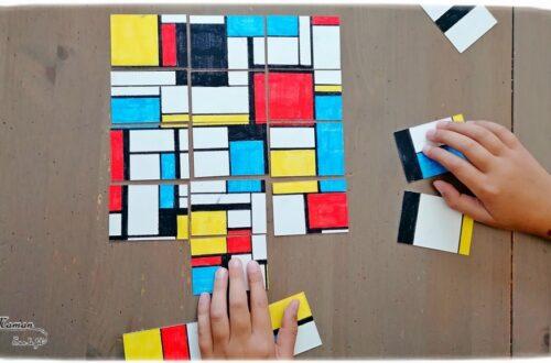 Activité créative et manuelle enfants - Puzzle DIY à la façon de Piet Mondrian - Jeu Fait Maison - A la manière de - Coloriage et Géométrie - Perpendiculaires et parallèles - Travail sur les couleurs primaires - Découverte d'un artiste - Utilisation de la règle - Logique et observation - Arts visuels maternelle ou cycle 2 et 3 - mslf