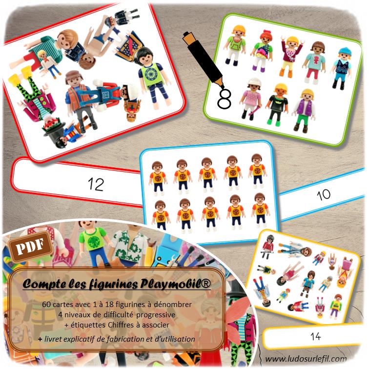 Jeu de dénombrement figurines Playmobil - 60 cartes de 4 niveaux de difficulté progressive - Combien de figurines - jeu mathématiques -  Atelier autocorrectif maternelle ou élémentaire - Jeu à télécharger et à imprimer ou jeu imprimé - Format PDF - lslf