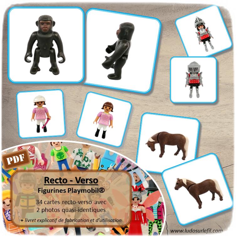 Jeu de recto-verso figurines Playmobil - 34 cartes recto-verso avec juste un détail qui change - jeu de société d'observation, de mémoire et de rapidité - Discrimination visuelle Atelier maternelle ou élémentaire - Jeu à télécharger et à imprimer ou jeu imprimé - Format PDF - lslf