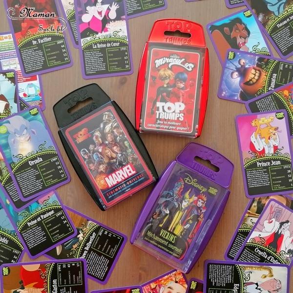Jeu de société enfants - Top Trumps : des jeux de bataille à l'effigie de nos héros préférés - Super Héros Marvel, Méchants et Vilains de Disney, Miraculous - Winning Moves - Jeu de cartes compact à emporter partout - Voyage - Travail de mathématiques - comparaison de nombres - ludique - mslf