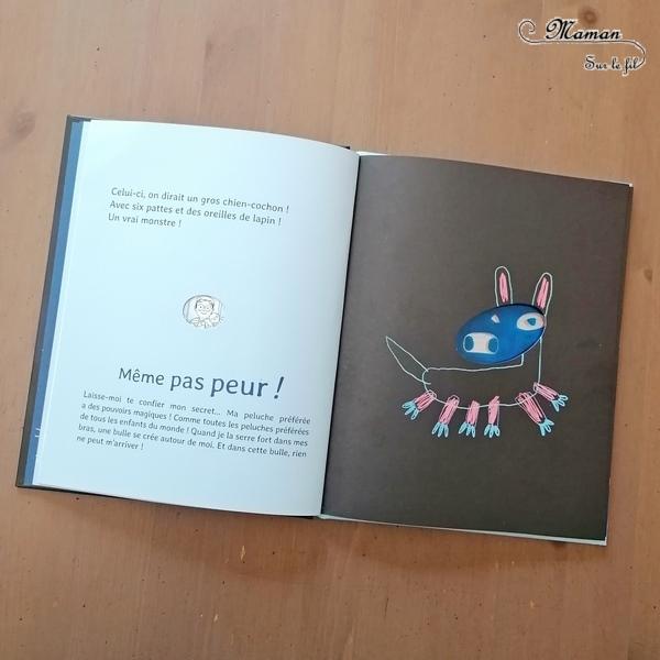 Livre enfants - La peur du noir chez P'tite Margot - Outil pour aborder la peur, les angoisses du soir, du noir, de la nuit - émotions - imagination de monstre - système de découpe et de transparence - créer sa bulle - solution - Monstres dans la chambre - ludique - littérature enfant et jeunesse - Test et avis - mslf