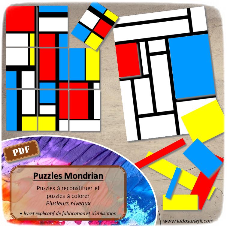 Puzzles à la façon de Piet Mondrian - reconstitue le tableau ou colore-le - plusieurs niveaux de difficulté - Logique et discrimination visuelle, jeu d'association - Atelier maternelle et élémentaire - Jeu à télécharger et à imprimer - Format PDF - lslf