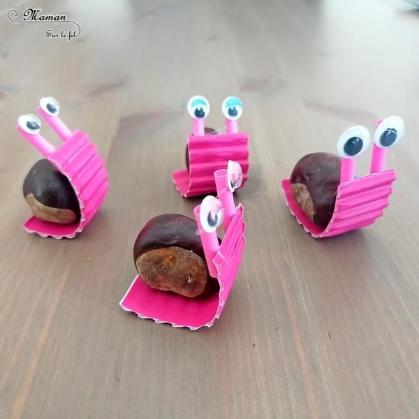Activité créative et manuelle enfants - Nos petits escargots en marron et récup' - Land Art d'automne pour utiliser nos trésors de saison - Bricolage avec carton ondulé, yeux mobiles et pailles - Girly - Arts visuels et créativité maternelle et Cycle 2 - mslf
