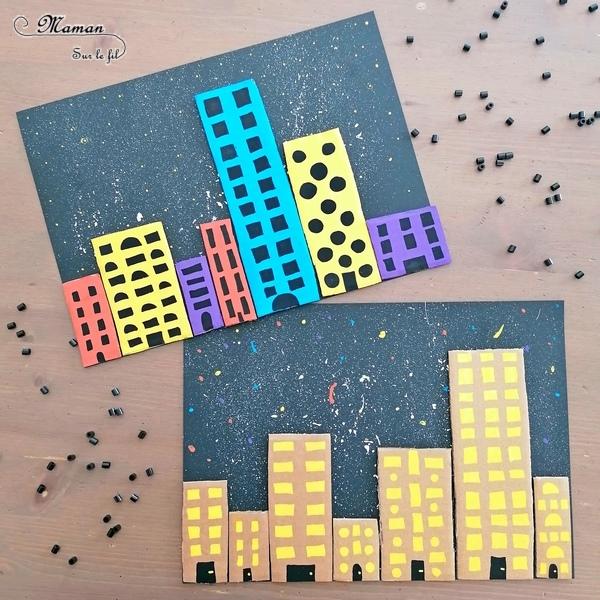 Activité créative et manuelle enfants - Maisons colorées hollandaises en bord de canal en récup' - Nuit étoilée - Graphisme Carré et Rectangle - Carton et peinture - Bricolage DIY - recyclage - Créativité - Europe - Pays-Bas, Hollande, Néerlandais - Amsterdam - Découverte d'un pays - Espace et géographie - arts visuels et atelier Cycle 1 ou 2 - Maternelle - mslf