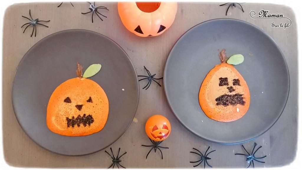 Activité créative et manuelle enfants - Cuisine et pâtisserie ludique - Pancakes ou crêpes Citrouilles d'Halloween - Dessin - Cuisine créative - Cake design - Décoration de gâteaux - Idées anniversaire sur thème Halloween et Automne - mslf