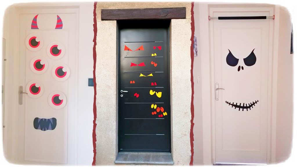Activité créative et manuelle enfants - Décorer les portes pour Halloween - Squelette, Monstre et Yeux dans la nuit - Peur - Décoration Halloween - pour classe ou maison - Récup' de chutes de papier et assiettes en carton - Arts visuels Maternelle ou élémentaire - Cycles 1, 2 ou 3 - mslf
