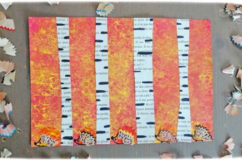 Activité créative et manuelle enfants - Forêt automne en peinture à l'éponge et ses hérissons avec taillures de crayon - Bouleaux avec un vieux livre - Découpage et collage - Dessin et graphisme - Automne et animaux de la forêt - Epluchures, copaux, tailles de crayons de couleurs - Créativité - arts visuels et atelier maternelle et Cycle 1, 2 et 3 - Récup' et recyclage - mslf