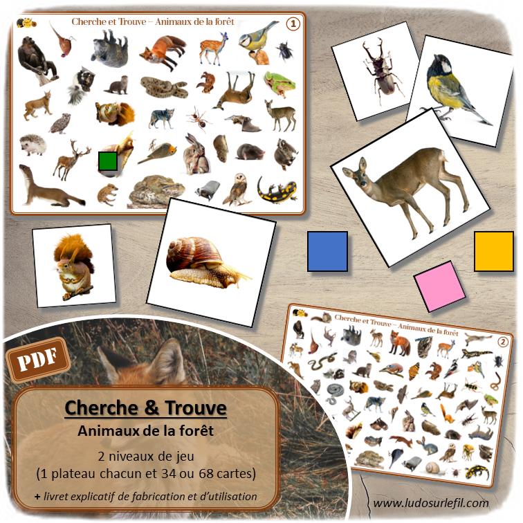 Jeu de cherche et trouve - Animaux de la forêt - 2 niveaux progressifs - 2 plateaux avec 34 ou 68 photos - Discrimination visuelle, rapidité, jeu de société - Atelier maternelle - Jeu à télécharger et à imprimer ou jeu imprimé - Format PDF - lslf