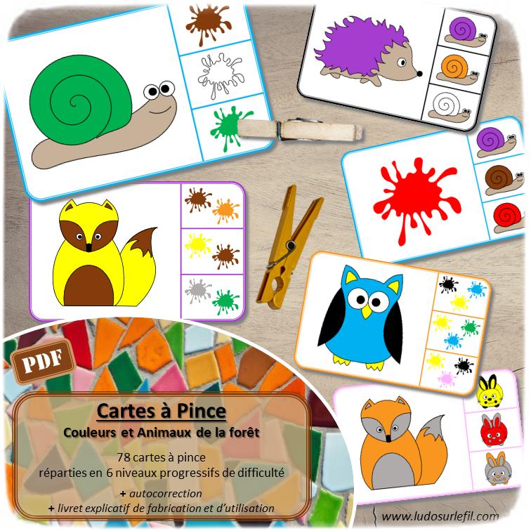 Cartes à pince - Couleurs et animaux de la forêt - Automne - 78 cartes réparties en 6 niveaux progressifs - 1, 2 ou 3 couleurs - escargots, hérissons, renards et hiboux - développement du langage, du lexique, discrimination visuelle, lecture de mots, motricité fine - Atelier maternelle ou pré-scolaire autocorrectif - Jeu à télécharger et à imprimer ou jeu imprimé - Format PDF - lslf