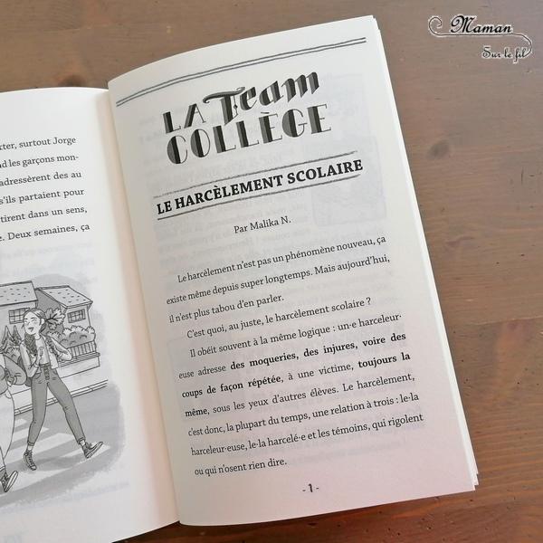 Livre enfants et Ados - Team Collège chez Poulpe Editions - Roman pour aborder le harcèlement scolaire - Fiction + conseils et méthodes pour désamorcer certaines situations - Explications, émotions, complexes - test et avis - mslf